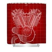 Harley Davidson Engine Patent 1919 - Red Shower Curtain