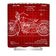 Harley Davidson Motorcycle Patent 1925 - Red Shower Curtain