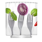 Healthy Food On White Shower Curtain