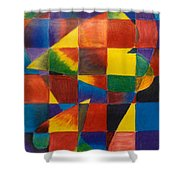 3 Hearts Squared Shower Curtain