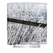 Hoar Frost On The Fence Shower Curtain