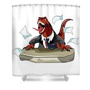 Illustration Of A Tyrannosaurus Rex Shower Curtain by Stocktrek Images