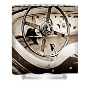 Jaguar Steering Wheel Shower Curtain