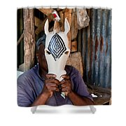 Kenya. December 10th. A Man Carving Figures In Wood. Shower Curtain