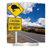 Kiwi Crossing Road Sign And Volcano Ruapehu Nz Shower Curtain