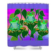 3 Little Frogs On Leafs Shower Curtain