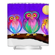 3 Little Owls In The Moonlight Shower Curtain
