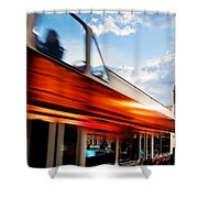 London Uk Red Bus In Motion And Big Ben Shower Curtain