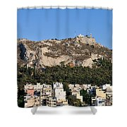 Lycabettus Hill During Sunset Shower Curtain