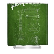 Mccarty Gibson Stringed Instrument Patent Drawing From 1969 - Green Shower Curtain