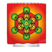 Metatron's Cube With Merkaba Shower Curtain