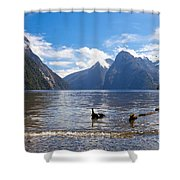 Milford Sound And Mitre Peak In Fjordland Np Nz Shower Curtain