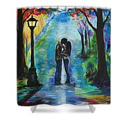 Moonlight Kiss Shower Curtain by Leslie Allen
