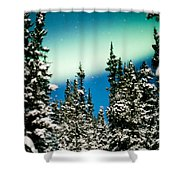 Northern Lights Aurora Borealis And Winter Forest Shower Curtain