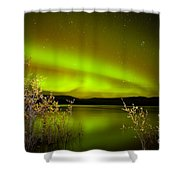 Northern Lights Mirrored On Lake Shower Curtain