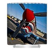Nose Art On A Curtiss P-40e Warhawk Shower Curtain