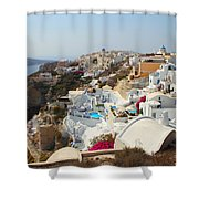 Oia Village Santorini Greece Shower Curtain