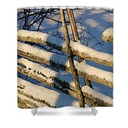 Old Swedish Wooden Fence In Winter Shower Curtain