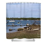 Opening Day For Snook Fishing At Sebastian Inlet In Florida Shower Curtain