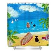 Palmy Beach Shower Curtain