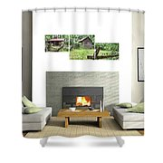 3-panel - Colonial Village Shower Curtain