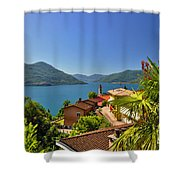 Panoramic View Over An Alpine Lake Shower Curtain