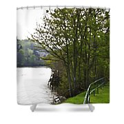 Path On Shore Of River Ness In Inverness Shower Curtain