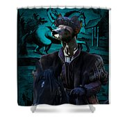 Peruvian Hairless Dog Art Canvas Print Shower Curtain