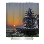 Waterfront Park Glowing Shower Curtain