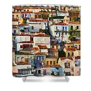Plomari Town Shower Curtain