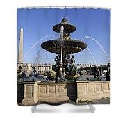 Public Fountain At The Place De La Concorde In Paris France Shower Curtain