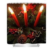 3 Red Candles Shower Curtain