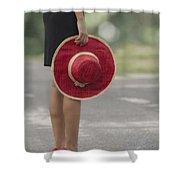 Red Sun Hat Shower Curtain
