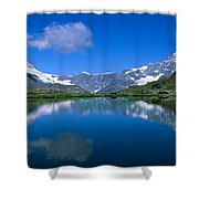 Reflection Of Mountains In Water Shower Curtain