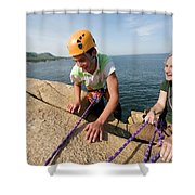 Rock Climbing On Oceanside Cliffs Shower Curtain