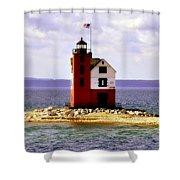 Round Island Lighthouse Straits Of Mackinac Michigan Shower Curtain