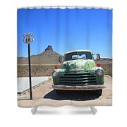 Route 66 - Old Green Chevy Shower Curtain