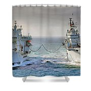 Royal Navy Aircraft Carrier Hms Ark Royal Conducts A Replenishment At Sea  Shower Curtain