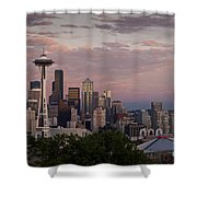 Seattle Skyline With Space Needle And Stormy Weather With Mount  Shower Curtain