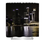 Singapore Skyline As Seen From The Pedestrian Bridge Shower Curtain