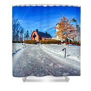 Snow Around Billy Graham Library After Winter Storm Shower Curtain
