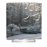 Snowy Trees Landscape Shower Curtain