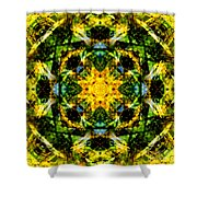 Stained Glass Sun Mandala Shower Curtain