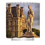 Statue Below Musee Du Louvre Shower Curtain