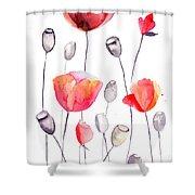 Stylized Poppy Flowers Illustration  Shower Curtain