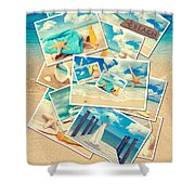 Summer Postcards Shower Curtain by Amanda Elwell