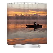 Sunrise In Fog Lake Cassidy With Fisherman In Small Fishing Boat Shower Curtain