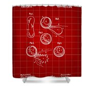 Tennis Ball Patent 1914 - Red Shower Curtain
