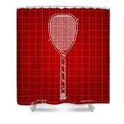 Tennis Racket Patent 1887 - Red Shower Curtain