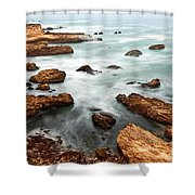 The Jagged Rocks And Cliffs Of Montana De Oro State Park In California Shower Curtain